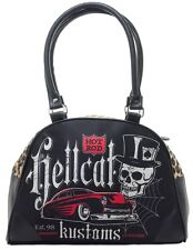 HOT ROD HELLCAT MERCURY SKULL TOP HAT IRONFIST DEMONIA LEOPARD PRINT HANDBAG