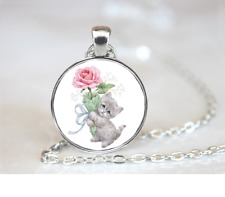 Kitten Holding Pink Rose PENDANT NECKLACE Chain Glass Tibet Silver Jewellery