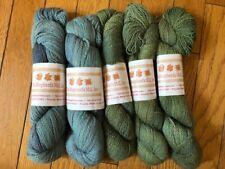 Lot of 5 skeins of The Shepherd's Mill alpaca/silk/wool yarn, green and blue