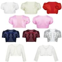 Girls Child Beaded Bolero Shrug Jacket Cardigan Tops Wedding Christening Party