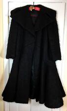 Pauline Trigere Womens Black Mohair Wool Designer Coat Vintage 1980's Size M L
