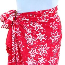 Red White Hand Batik Sarong Pareo Scarf Wrap Full Size Rayon Beach Cover up