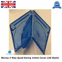 25 x Blu Ray 4 Way Case 14mm Spine for Hold 4 Disk New Replacement Swing Cover