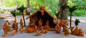 """Large 26 Pcs Roman Inc Fontanini Lighted 5"""" Nativity Set Italy"""