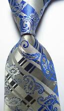 New Classic Paisley Checks Blue Gray JACQUARD WOVEN 100% Silk Men's Tie Necktie