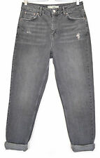 Topshop MOM High Waisted Vintage GREY Distressed Tapered Jeans Size 8 W26 L30
