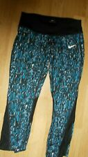 NIKE DRI-FIT RUNNING CAPRIS SIZE SMALL PRINTED BLACK ZIPPER POCKET NEW