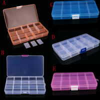 15 Compartment Plastic Empty Storage Case Box for False Nail Art Tips Gems Beads