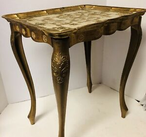 Vintage Gold Gilt Plastic Table French Baroque Style Florence Italy 1960s