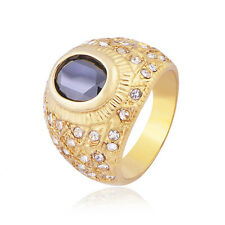 Mens 18K GP yellow Gold Plated Black CZ Wedding Ring size 10 Womens Jewelry