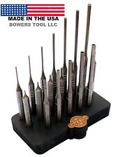 Grace USA 19pc Gunsmith Steel Roll Pin Spring Punch Set Gun Care w Bench Block
