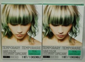 2 Temporary Hair Color Kit Just Comb In Your Done! Shampoo Its Out TEAL