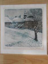 CHRISTIANSTAL Häuser im Schnee Winter Farb-Radierung signiert Ullrich