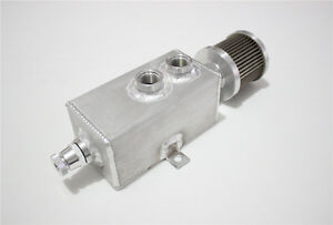 1L ALUMINUM  oil catch tank with breather & drain tap natural finish