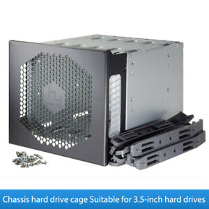 """5.25in to 5X 3.5in SATA SAS HDD Hard Drive Cage Adapter Tray Rack For 3x 5.25"""""""