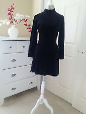 UBU Fashion Long Sleeve Stand Collar Black Velvet Bodycon Pull On MiniDress Sz.M