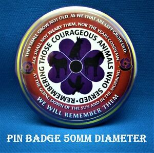 Armed forces Animals Remembrance Lest we forget 50mm pin badges. FREE P&P