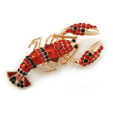 Black/ Red Crystal, Red Enamel Lobster Brooch/ Pendant in Gold Tone - 50mm L