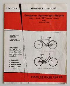 "Vintage 70's Sears European Lightweight 26"" Bicycle w/ 3 Speed Hub Owners Manual"