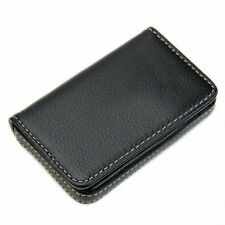 Mens Black Leather Business ID Credit Card Holder Case Wallet with Magnetic Shut