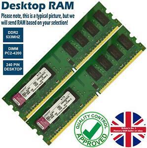 1GB 2GB Memory RAM Desktop PC2 4200 DDR2 533MHz 240 Pin Non-ECC Unbuffered Lot
