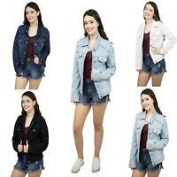 Women's Basic Denim Jacket Button Down Long Sleeve Ladies Stretch Jean Jackets