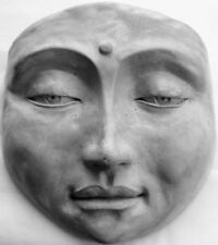 Handmade Buddha Face Wall Sculpture, Signed, Numbered Folk Art by Claybraven