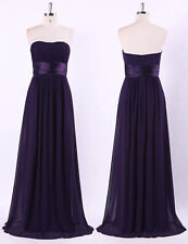 Ever-Pretty Long Strapless Evening Dress Dark Purple Bridesmaid Gown Ruched UK 8