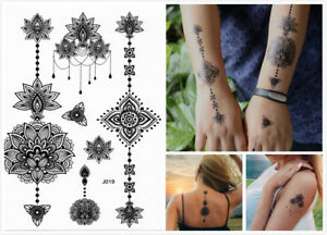 Black Henna Tribal Flower Lace Temporary Tattoo Stickers Sexy Adult Body Art