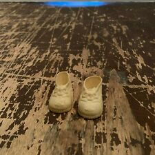 Vintage Pair of White Vinyl Doll Shoes