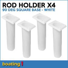 4 x ROD HOLDERS Plastic Rod Holder Flush Mount 90 deg Square Base White
