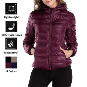 Womens Duck Down Ultralight Winter Jacket Warm Puffer Coat Packable Outerwear UK