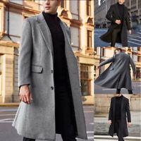 Winter Outwear Men's Wool Trench Long Fashion Overcoat Jacket Warm Coat