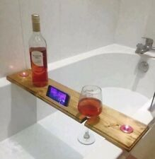 Bathtub Shelf Accessory Holder for Your Wine Glass , Cell Phone Crafted Wood