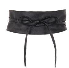FUSCIACCA grande con laccetti donna vita alta ECOPELLE nero cinta cintura abito