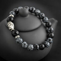 Fashion 8mm Obsidian Beads Stone Silver Buddha Lucky Man Beaded Stretch Bracelet