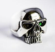 """Enorme sólido de plata esterlina 925 Anillo de cráneo """"Esmeralda"""" ojo de tamaño de Reino Unido Z (US 12.5) 23g"""