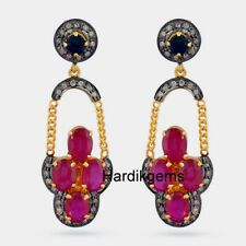 Sapphire Victorian Handmade Earring Jewelry Natural Rosecut Diamond Ruby &