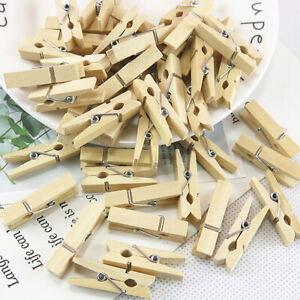 50Pcs Mini Wooden Clothe Photo Paper Peg Clothespin Clips for Storage Supplies