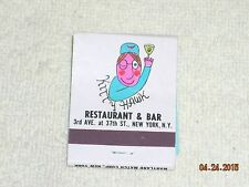 Vintage Kitty Hawk Restaurant & Bar New York N.Y. Matchbook NOMATCH HEADS