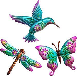 Hummingbird Butterfly Dragonfly Metal Wall Art Decor Sculpture Home Garden Fence