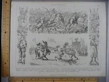 Rare Antique Orig VTG Military War Jousting Knights Armor Engraving Art Print