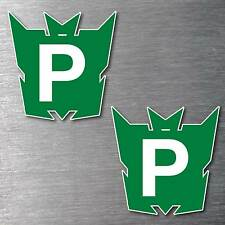 Green P Plate Transformer x 2 stickers STREET LEGAL 7 year water & fade proof