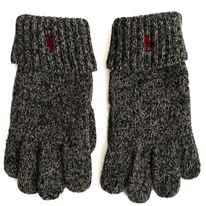 Polo Ralph Lauren Men's Gloves 100% Wool Suede Pony  Logo Cuffed Brown Black
