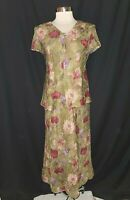 NEW DRESSBARN Size 14 Maxi Dress Green Pink Floral Crinkle Short Sleeve Long