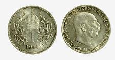 pcc2128_93)  Franz Joseph I 1 Korona 1914 AG Toned