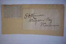 Signed Civil War Wisconsin Cavalry EDWARD MINOR Mayor of Sturgeon Bay WI SENATOR