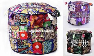 "Handmade 18"" XL Round Ottoman~Pouf~Stool Cover Tapestry Pouffe Seat Indien pouf"