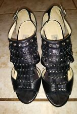 Jimmy Choo Black Leather With Stud Sandals Heels Size 39