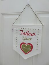 Door Decor Red Wall Hanging Sign Follow Your Heart Flag Banner